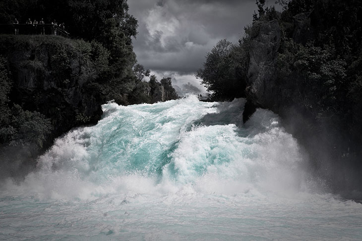 Huka Falls with storm clouds