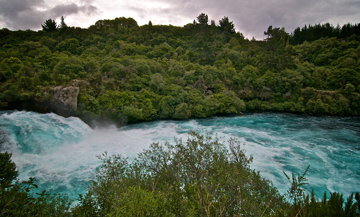 Huka Falls and Waikato River in stormy weather